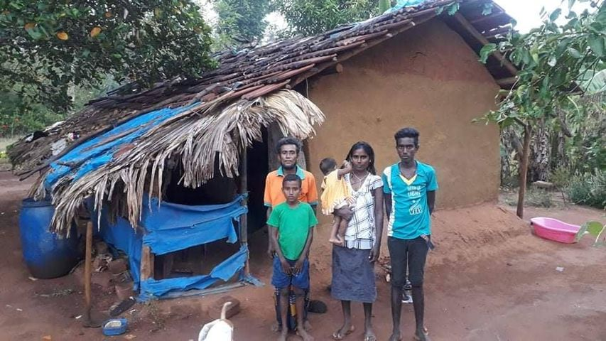 A helpless family with two school children