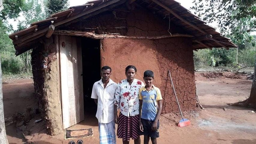 Poor family living in a small house
